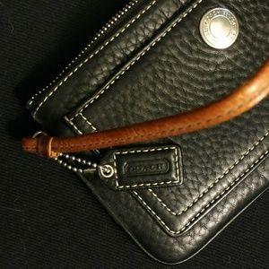 Coach Bags - Coach black leather wristlet chelsea